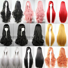 US Long Straight Hair Full Wig Cosplay Party Anime Dress Synthetic Wig 60-100cm#