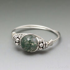 Moss Agate Bali Sterling Silver Wire Wrapped Bead Ring