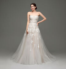 Strapless Aline Wedding Gown Lace Applique Long Tulle Train Bridal Dress Hot