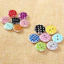 50Pcs 13/15mm 2 Holes Round Dot Pattern Wooden Buttons Sewing Scrapbooking Knit