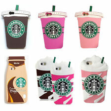 Cool Cartoon Starbucks Cup Silicone Rubber Soft Case Cover for iPhone Samsung UK
