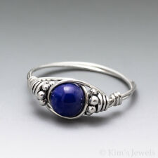Lapis Lazuli Bali Sterling Silver Wire Wrapped Bead Ring - Ships Fast!