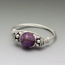 Charoite Bali Sterling Silver Wire Wrapped Bead Ring