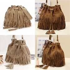 Fashion Ladies Brown/Beige Tassel Shoulder Bag Faux Suede Fringe Messenger Bag
