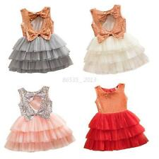 Kids Baby Girl Sequined Bow Dress Toddler Party Wedding Tulle Tutu Cake Dress