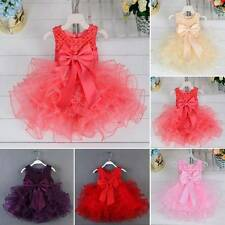 Infant Toddler Pretty Wedding Bridesmaid Party Bowknot Pearl Pageant Girl Dress