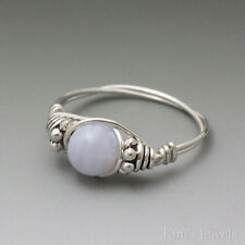 Blue Lace Agate Bali Sterling Silver Wire Wrapped Bead Ring – Ships Fast!