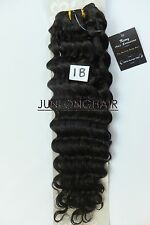 16''~26'' Deep Hair Weft Weaving No Clips Real Human Hair Extensions Off Black