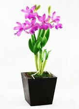 """Potted Double Stem Hybrid Cattleya Orchid Flexible Artificial Clay Flowers 10""""H"""