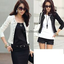 New Women Korean Fashion Lady Long Sleeve Shrug Suits Blazer Short Outerwear C5