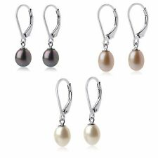 Sterling Silver Freshwater Pearl Leverback Earrings (White-Peacock-Pink)