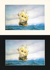 De Eendracht Dutch Ship/Nautical/Maritime Print Cornelis de Vries A4 Cr/Bl/Wh