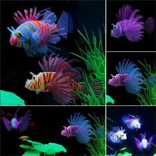 Jellyfish Glow In Dark Aquarium Ornament Artificial Lionfish Fish Tank