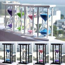 1/15/30 Minutes Wood Sand Glass Hourglass Timer Clock Home Office Decor Gift