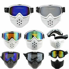 New Detachable Goggles Nose Face Mask Modular Motorcycle Shield Helmet Goggles