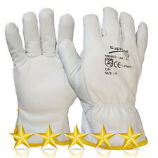 5 Pairs WHITE Driver Gloves Fleece Lined Leather Lorry Drivers Work Gloves
