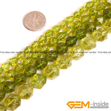 Dyed Green Peridot Crystal Quartz Faceted Polygonal Beads For Jewery Making 15""