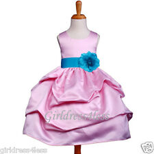 PINK/TURQUOISE BLUE PICK UP WEDDING FLOWER GIRL DRESS 6M 12M 18M 2 4 5/6 8 10 12