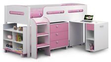 Blue or Pink Cabin Bed with Desk, Shelves and Drawers 3ft Storage Child