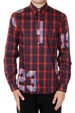 ACNE STUDIOS New Men Red Checked Popeline cotton shirt Classic Fit NWT