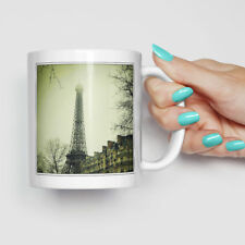 White Ceramic 11oz Coffee Mug Eiffel Tower Mist Paris France