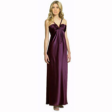 Gleaming Split Neck Satin Formal Evening Ball Gown Full Length Dress Plum
