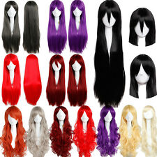Long Curly Straight Synthetic Full Head Wigs Cosplay Party Dress Adjustable C19