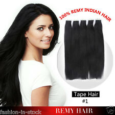"8A 16"" 18"" 20"" black Hair Tape in Remy Human Hair Extensions Skin Seamless weave"