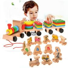 Toddle Baby Kid Wooden Toys Stacking Train Geometric Stacker Building AN18