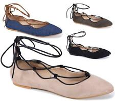 WOMENS LADIES FLAT DOLLY PUMPS SHOES BALLET LACE UP CLASSIC OFFICE WORK SIZE