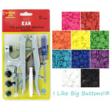 KAM Plastic Snap Pliers +500 Snaps PICK 10 COLORS Cloth Diapers/Poppers/Bibs