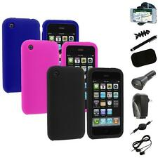 Color Silicone Rubber Gel Skin Case Cover+8X Accessory for Apple iPhone 3G 3GS