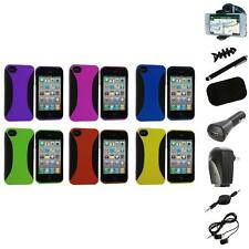 Color Hybrid Dual Flex Hard TPU Case Skin Cover+8X Accessory for iPhone 4 4S 4G