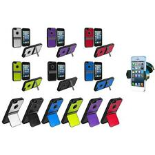 For iPhone 5 5G 5S Aluminum TPU Hard Brushed Metal Case Cover Stand+Car Mount