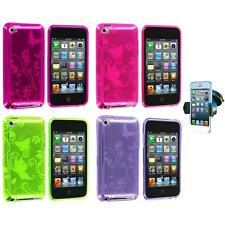 Butterfly Flower TPU Rubber Case+Windshield Mount for iPod Touch 4th Gen 4G 4