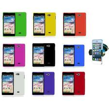 For LG Spirit 4G MS870 Color Hard Snap-On Rubberized Case Cover+Car 360 Mount
