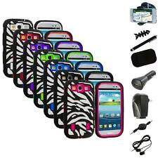 Zebra Hybrid Case Cover+Built Protector+8X Accessory for Samsung Galaxy S3 S III