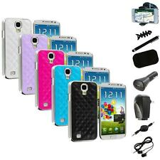 Leather Quilted Chrome Case Cover+8X Accessory for Samsung Galaxy S4 S IV i9500