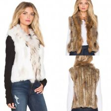 100% Real Knitted Rabbit Fur Women Vest Raccoon Collar Gilet WaistCoat V0102