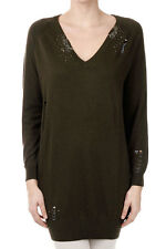 PINKO Tag New Woman green Beads V neck Sweater Jumper Long sleeve NWT