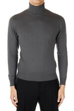 DOWNSHIFTING Man Grey Turtleneck Mixed Extrafine Wool Sweater Made in Italy