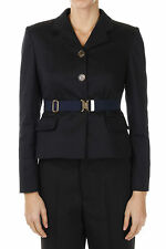 MIU MIU Woman Nw Single Breasted Stretch Cotton Blazer Jacket Blue Made in Italy
