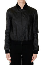 BOTTEGA VENETA New Woman Black Bomber Jacket Leather Beads Made in Italy