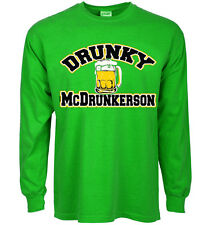 Funny st patricks day t-shirt Drunky McDrunkerson decal shirt for men green