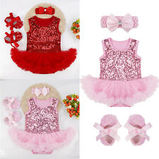 Infant Baby Girl Sequined Outfit Romper Jumpsuit Tutu Dress+Headband+Shoes 3-18M