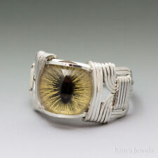 Yellow Cat Eye Glass Eyeball Sterling Silver Wire Wrapped Cabochon Ring