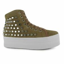 Jeffrey Campbell Play hOMG Platform Shoes Womens Nude/Silver Trainers Sneakers