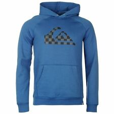 Quiksilver Check Logo Pullover Hoody Mens Blue Hooded Sweatshirt Sweater