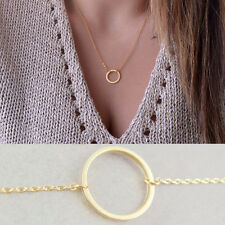 Women Fashion Circle Alloy Simple Pendant Necklace Chain Jewelry Lovely Gift