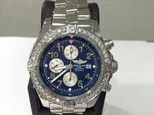BREITLING Ref. A13370 SUPER AVENGER Chronograph S/S 48mm w/ 3cts. Diamonds! MINT